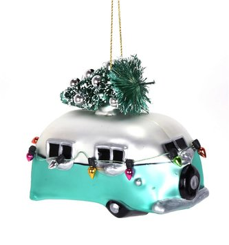 Aqua Christmas Camper Ornament