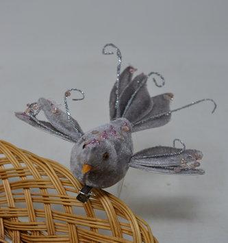 Clip-On Velvet Sequin Bird