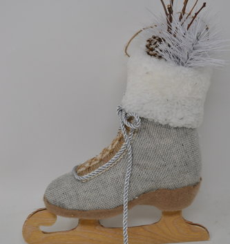 "10"" Linen Ice Skate Ornament"