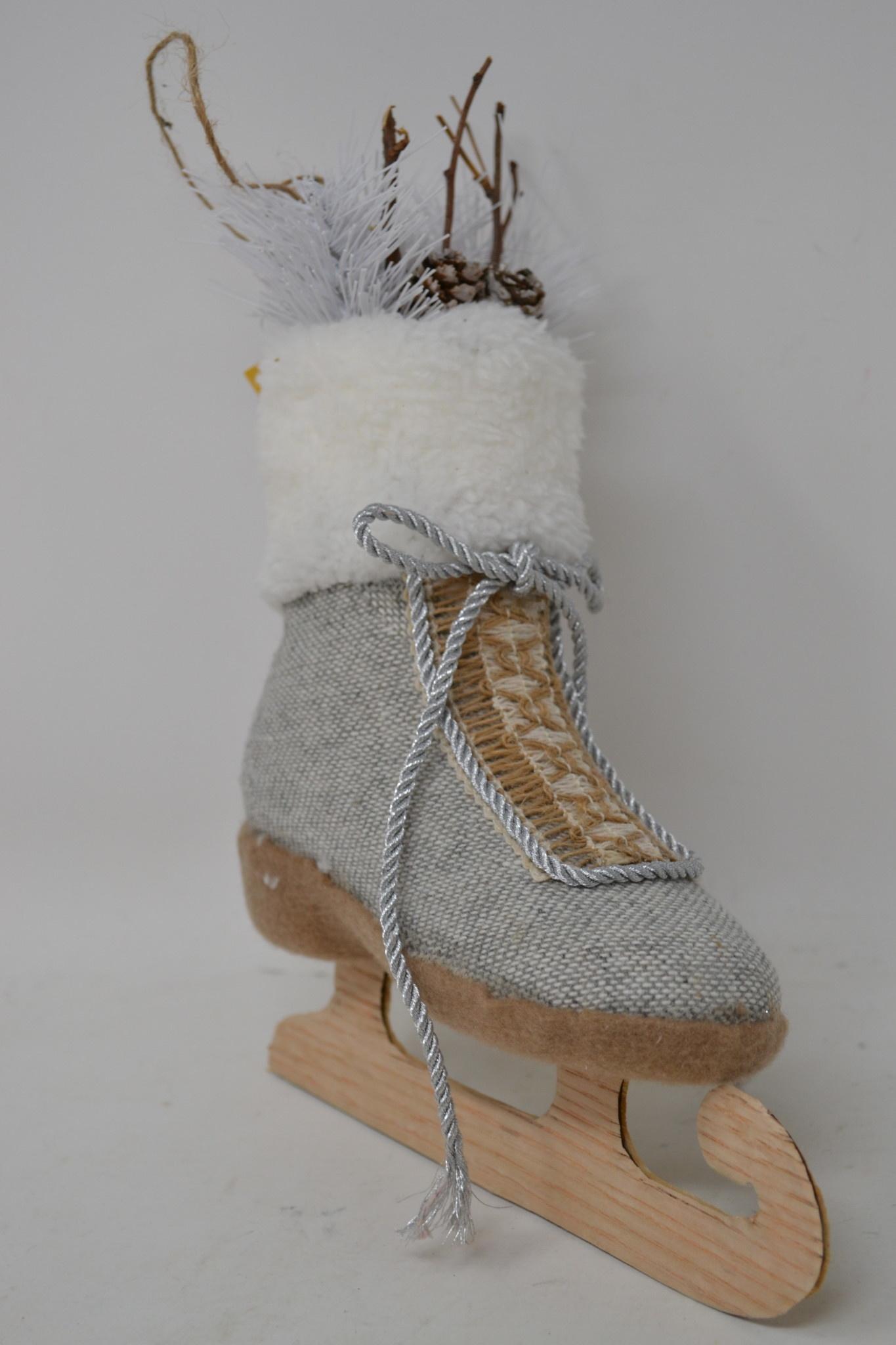 """10"""" Linen Ice Skate Ornament"""
