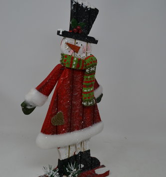 Wooden Sparkle Tabletop Snowman