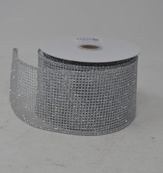 Silver Glitter Mesh Ribbon