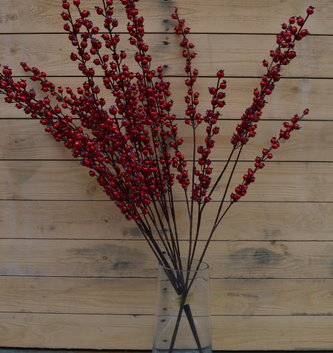 "32"" Red Pom Berry Spray"