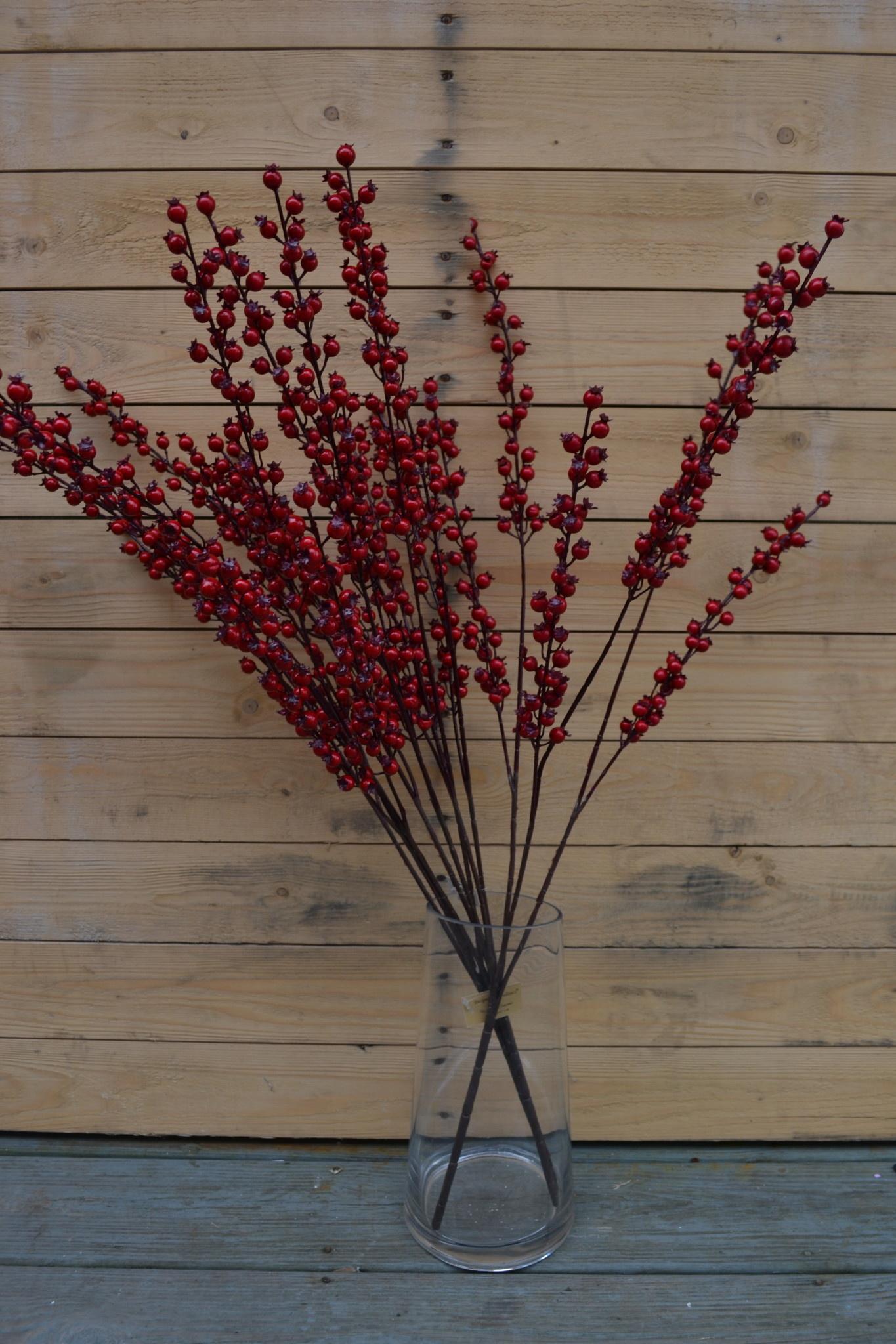 """32"""" Red Pom Berry Spray"""