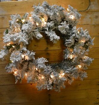 "30"" Pre-Lit Flocked Balsam Pine Wreath"
