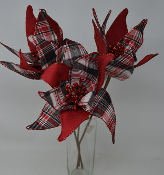 Sparkle Plaid Poinsettia Stem