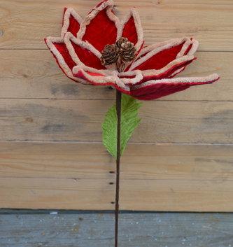 Velvet Pinecone Poinsettia Stem