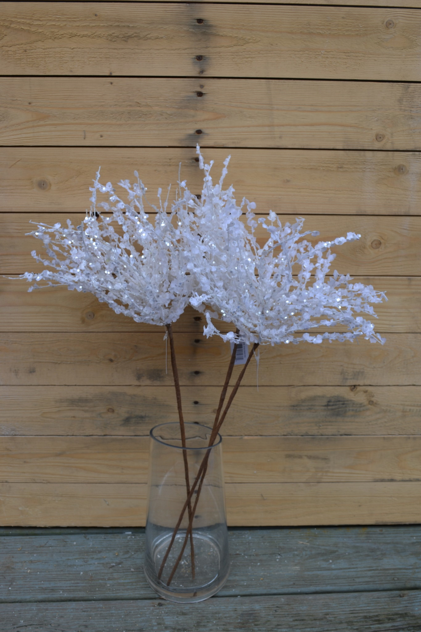 "29"" White Iced Starburst Stem"