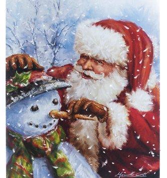 LED Tabletop Santa Building Snowman Canvas