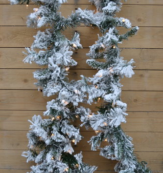 9 Ft Pre Lit Flocked Balsam Pine Garland