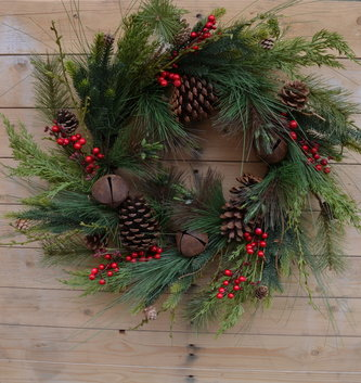 "24"" Rustic Mixed Pine Bell Wreath"