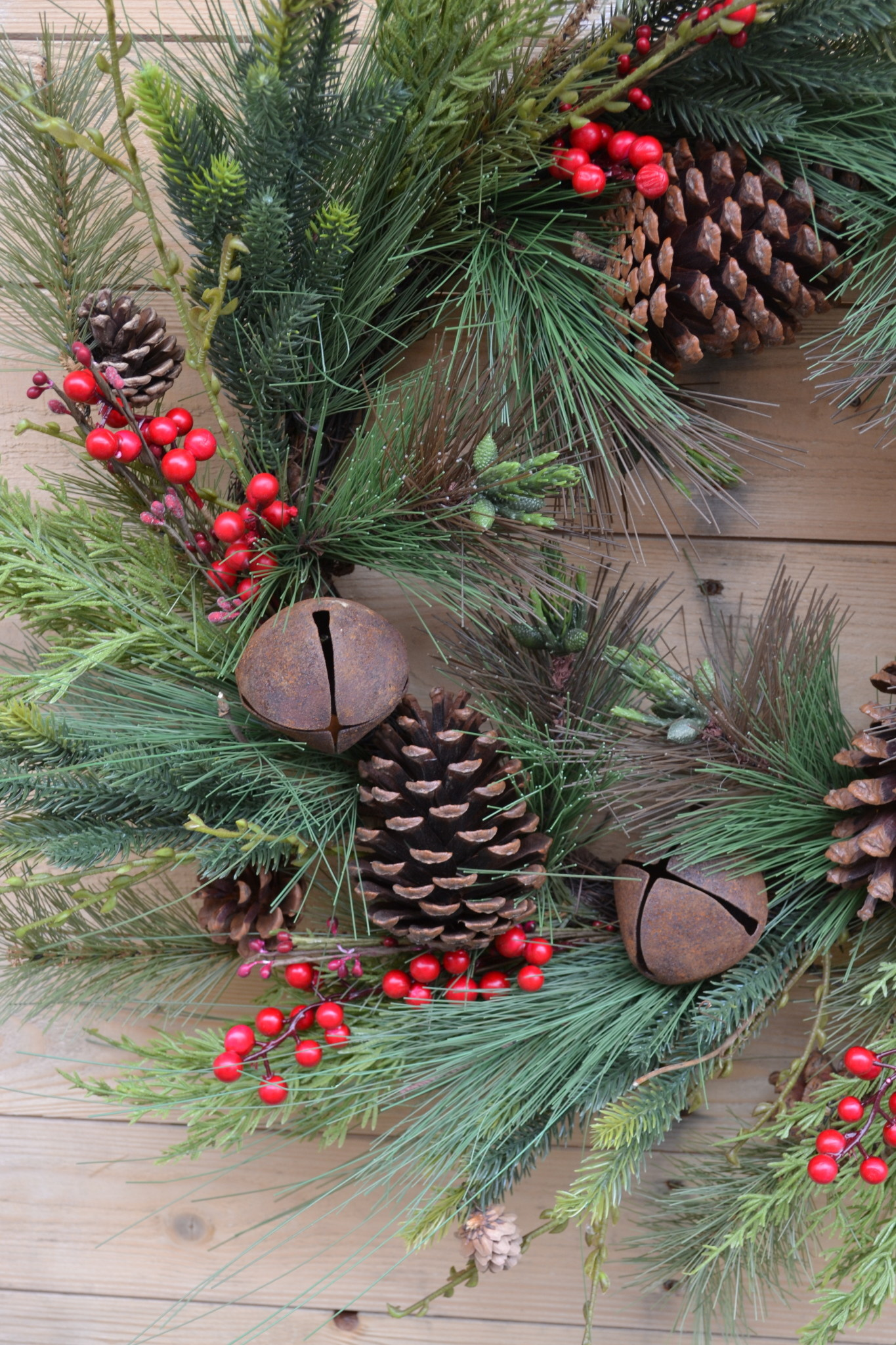 """24"""" Rustic Mixed Pine Bell Wreath"""