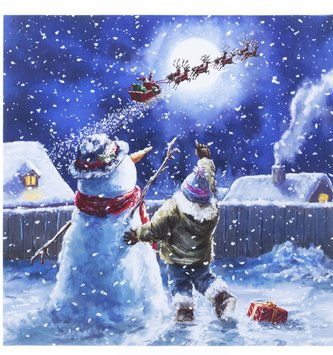 LED We See Santa Canvas