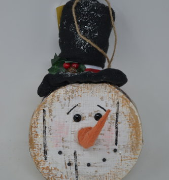 Birch Slice Snowman Head Ornament