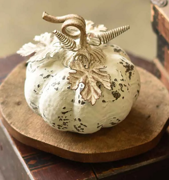 Distressed White Metal Pumpkin (2 Sizes)