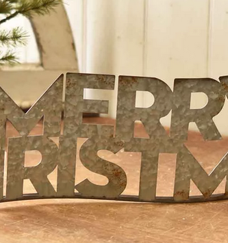 Galvanized Wavy Merry Christmas Sign