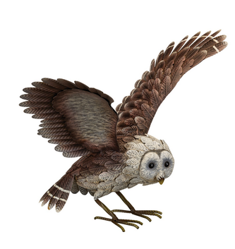 Metal Barn Owl with Wings Up