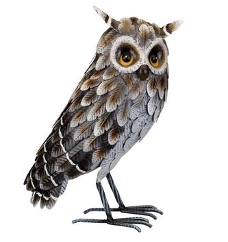 Standing Metal Great Horned Owl