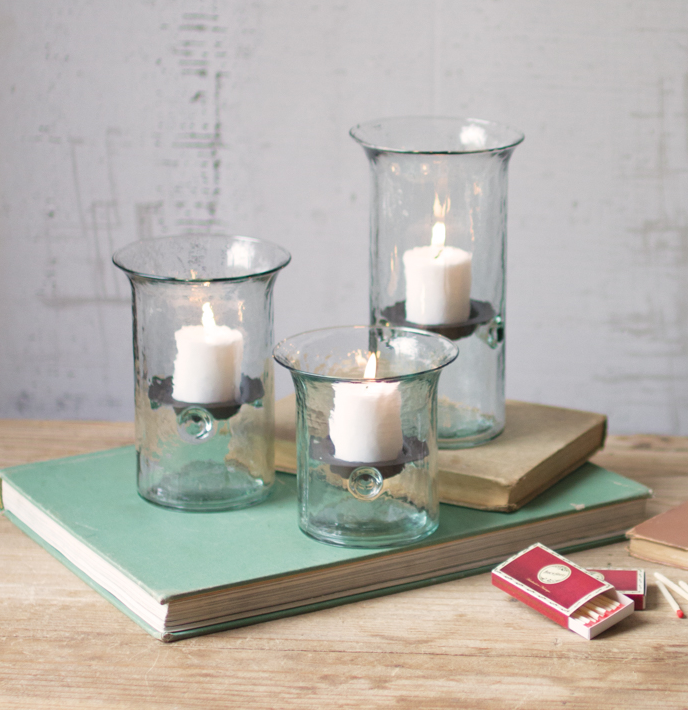 Set of 3 Glass Candle Cylinders