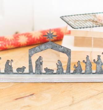 Horizontal Metal Nativity Scene on Stand