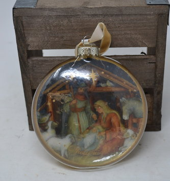 O Holy Night Glass Disk Ornament