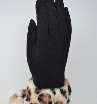 Black Leopard Fur Gloves