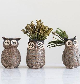 Gray Stone Owl Vase (3 Styles)