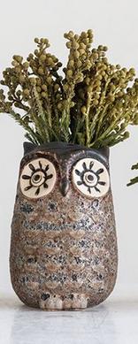 Gray Stone Owl Vase