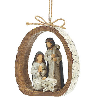Birch Holy Family Nativity Ornament