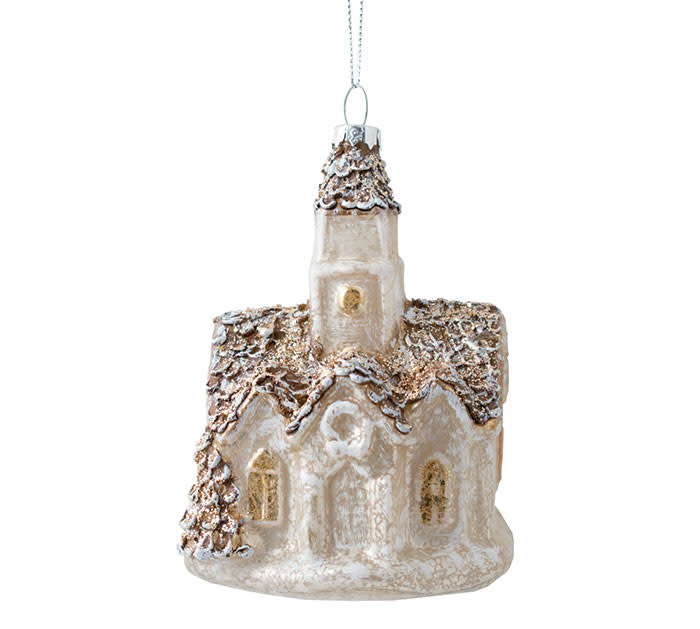 Mercury Glass Church Ornament