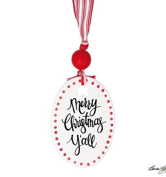 Dotted Ceramic Oval Merry Christmas Yall Ornament