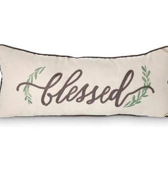 Embroidered Boxwood Blessed Pillow