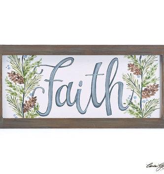 Wooden Framed Faith Boxwood Print