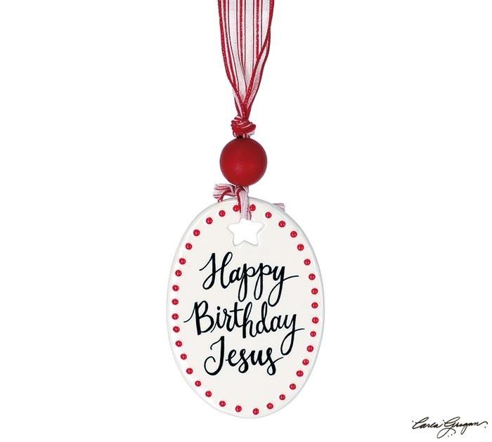 Dotted Ceramic Oval Happy Birthday Jesus Ornament