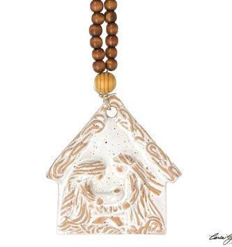 Beaded Pottery Holy Family Ornament