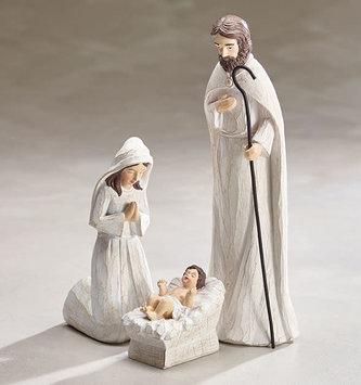 Whitewashed Holy Family Nativity