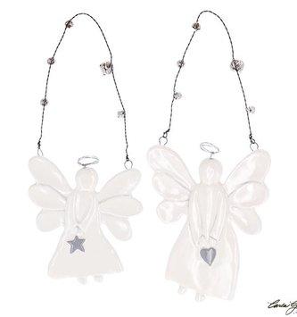 White Ceramic Angel Ornament w/ Bells