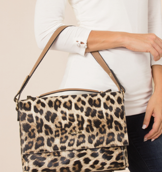 Simply Noelle Textured Leopard Print Shoulder Bag (2 Colors)