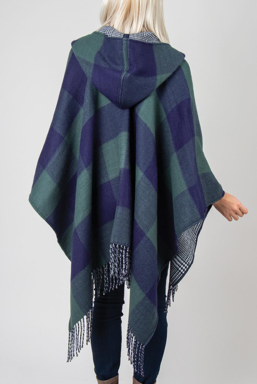 Simply Noelle Buffalo Check Reversible Hooded Wrap