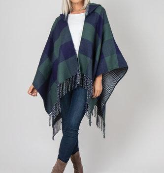 Simply Noelle Buffalo Check Reversible Hooded Wrap (3 Colors)