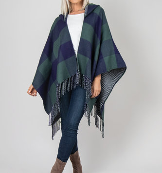 Simply Noelle Buffalo Check Reversible Hooded Wrap (3 Colors)
