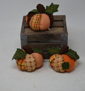 Set of 3 Mini Patchwork Homespun Pumpkins