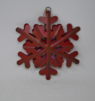 "8"" Rustic Red Metal Snowflake Ornament"
