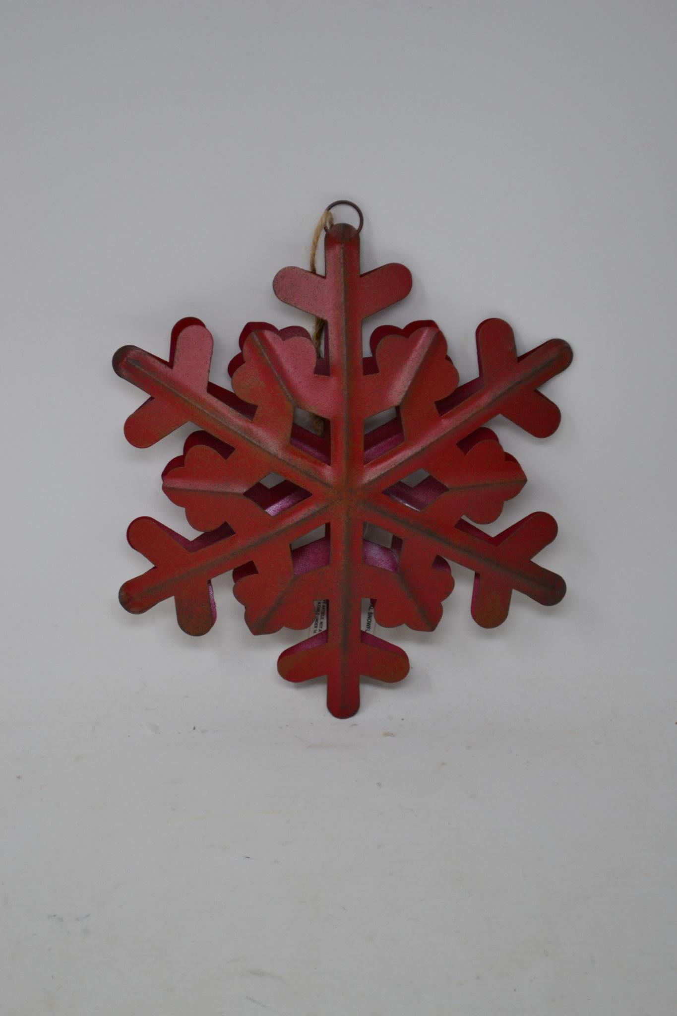 """8"""" Rustic Red Metal Snowflake Ornament"""