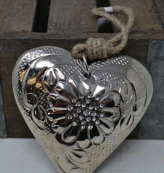 Metal Rhinestone Heart Ornament