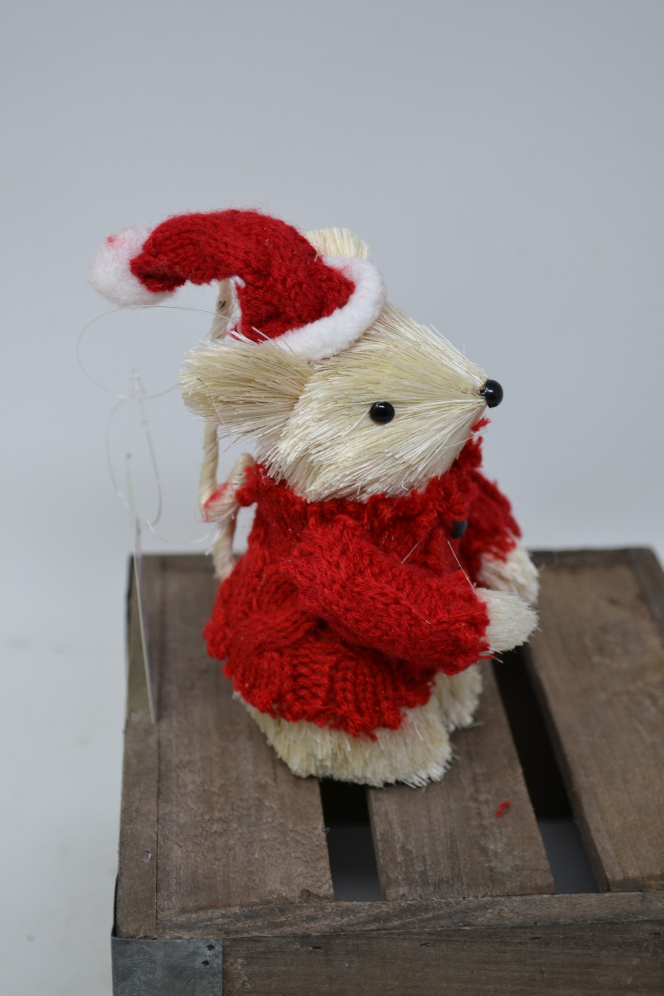 Sisal Mouse w/ Red Sweater Ornament