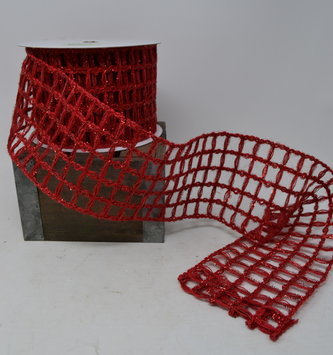 "Red Glitz Open Weave Ribbon 4""x10 Yds"
