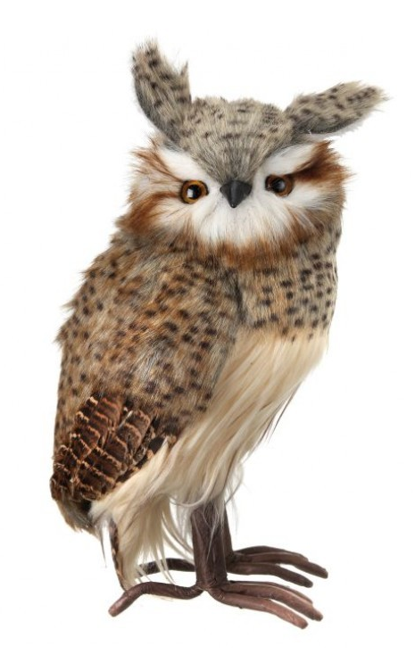 """10.5"""" Standing Speckled Hoot Owl"""