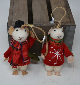 Mr. & Mrs. Wool Cozy Cottage Mice Ornaments