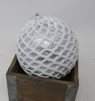 Round Glittered Diamond Patterned Ball Ornament